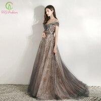 SSYFashion New Banquet Elegant Evening Dress Scoop Sequins Appliques Floor length Long Prom Formal Gown Vestidos De Noche