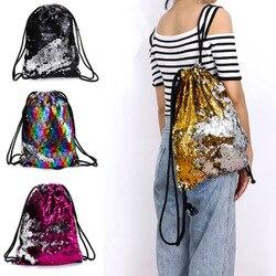 Bolsos de lentejuelas de moda con cordón Reversible mochila de lentejuelas brillantes bolsos de hombro para niñas mujeres niñas libro Mochilas 2019 H66