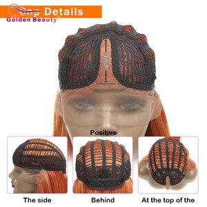 Image 4 - Peruka z długich prostych włosów syntetyczna koronka przodu peruki dla kobiet z środkowej części żaroodporne peruka do cosplay pomarańczowy kolor złoty piękno