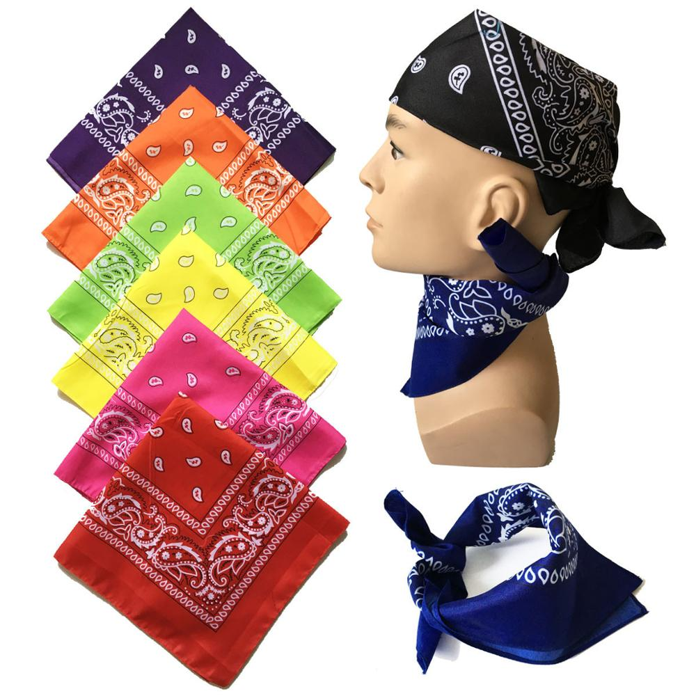 Vintage Print Bandana For Women Hair Accessories Head Scarf Headwear Wristband Pocket Towel Female Bandanas Headbands 55*55cm