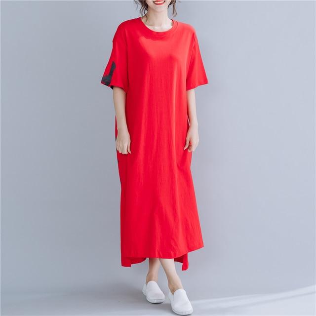 #1610 Red Midi Dress Women Short Sleeves Letter Printed Dress T-shirt Loose Cotton Side Split Casual Plus Size Dresses Summer 3