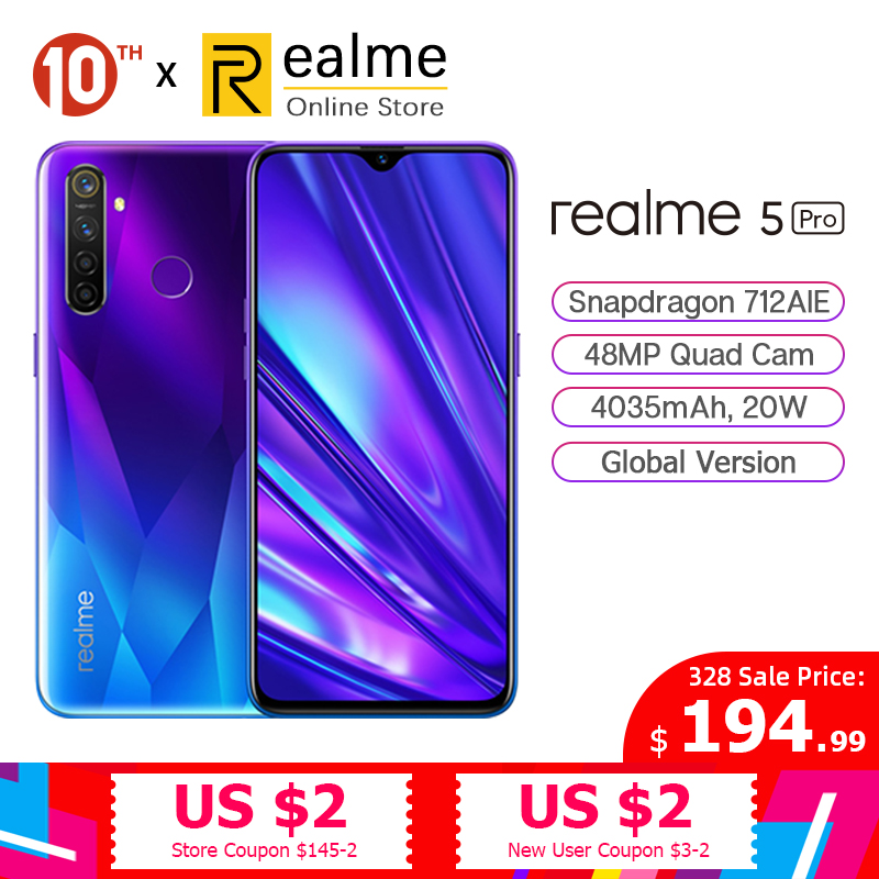 Global Version Realme 5 Pro R5 Pro 4G / 8G 128G Smartphone Snapdragon 712AIE 48MP Quad Cameras 6.3'' Cellphone VOOC 20W 4035mAh