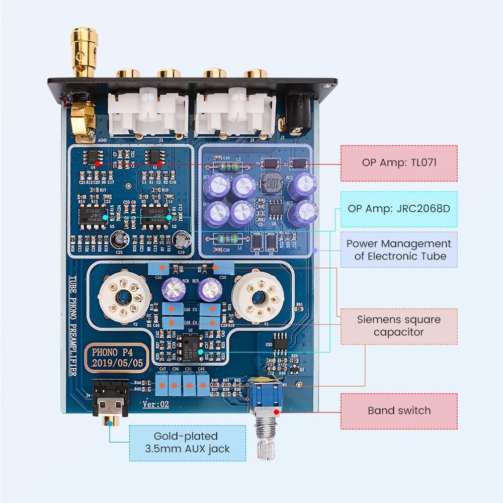 AIYIMA 6J2 Tube à vide MM Phono platine vinyle préamplificateur HiFi stéréo phonographe préampli amplificateur vinyle lecteur de disque pour la maison bricolage - 5