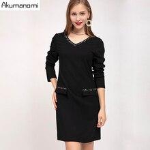 Autumn Dress Women 2019 Plus Size 5XL Diamonds V neck Full Sleeve Office Party Dress Free Shipping Vestidos De Verano Robe Femme