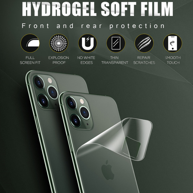 Full Cover Hydrogel Film For iPhone 11 12 Pro Max mini XR XS X Screen Protector Back Film iPhone 7 8 Plus Camera Tempered Glass 2