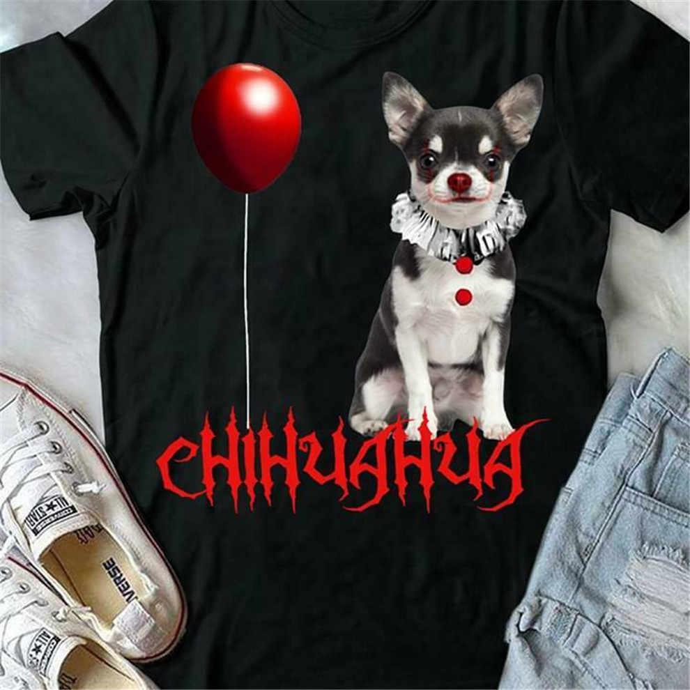 Si Chihuahua Pennywise di Halloween Nero Stile T-Shirt Rotonda Tee Shirt