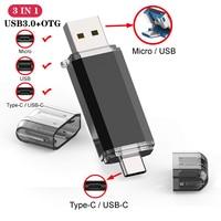 UBS 3.0 OTG USB Flash Drive 64GB Pen Drive 3 w 1 typ C i Micro pamięć USB 3.0 Flash Drive 16GB 32GB 128GB Pendrive 256GB 512GB
