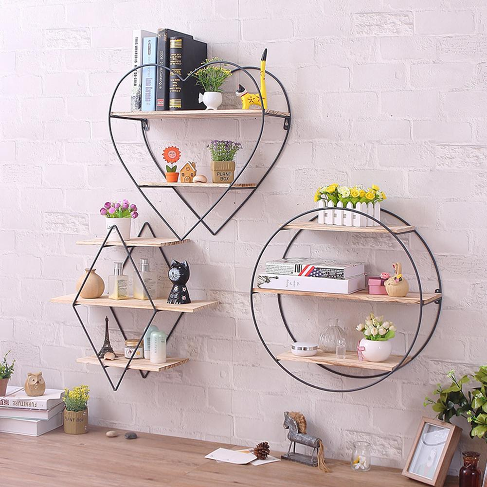 Wrought Iron Wooden Wall Shelf Racks Vintage Wood Wall Hanging Racks Wall Hanging Viewing Decoration Displays Storage Shelf