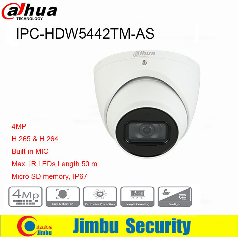 Dahua 4MP IP Camera IPC-HDW5442TM-AS IR50m Built-in MICIP67 POE Micro SD Memory CCTV Camera Smart Detection Supported