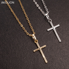 AKOLION 2017 Hot Sale Silver 925 Sterling Cross Necklaces Pendant Jewelry Fashion Women Statement Necklace wholesale banbu new arrival 925 sterling silver necklaces jewelry polishing process plate gold necklace women hot sale best gift for girls