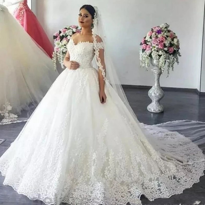 Off Shoulder Princess Wedding Dress Ball Gown 2020 Lace Applique Beads with Sleeves Bridal Gown Bride Dress Robe De Mariee Hot(China)
