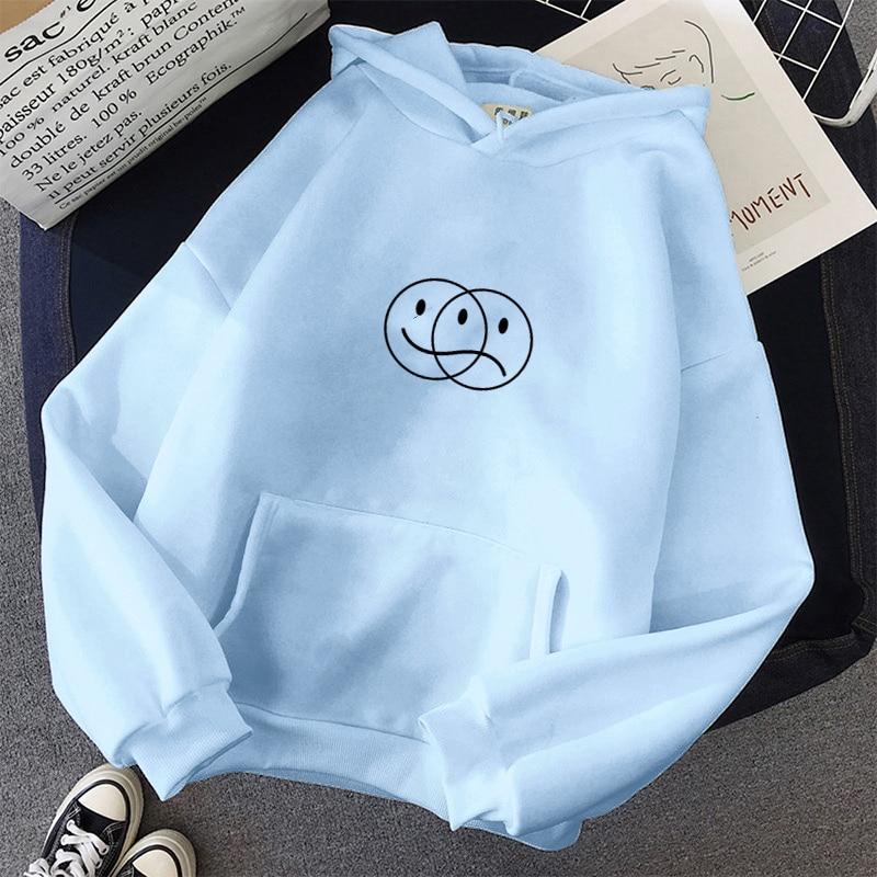 Корейский уличный свитшот для мужчин и женщин, Повседневный пуловер в стиле хип-хоп, с длинным рукавом, с принтом улыбки грустного лица, спор...