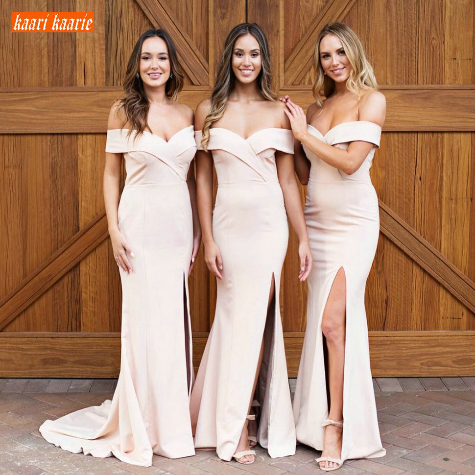 Sexy Slim fit Mermaid Bridesmaid Dresses Long Off Shoulder Elastic Satin Side Slit Wedding Party Gowns Customized Sweep Train