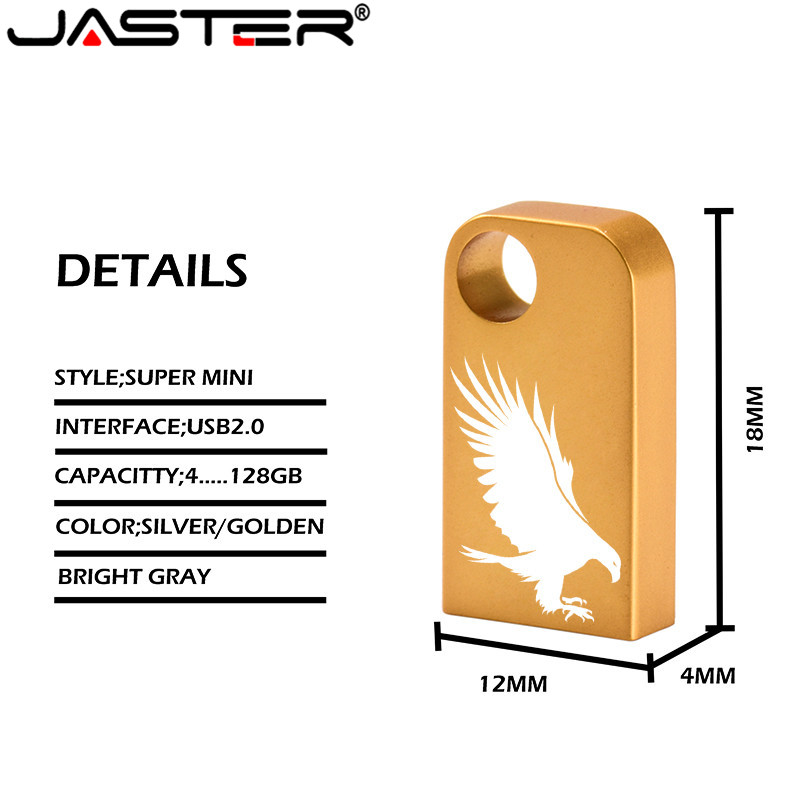 JASTER Mini Metal High Speed USB Flash Drive 4GB 16GB 32GB 64GB USB Stick Waterproof Flash Usb Drive Wedding Gift 1PCS Free Logo