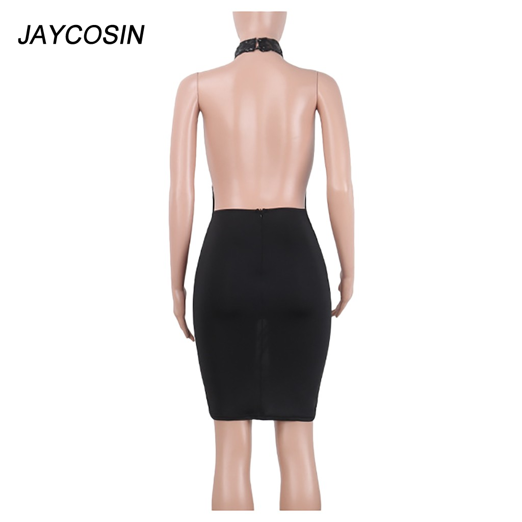 Siyah Halter pullu elbise kapalı omuz Backless seksi Hollow Out kadınlar elbise Sheer Bodycon ünlü gece kulübü elbiseler Dropship