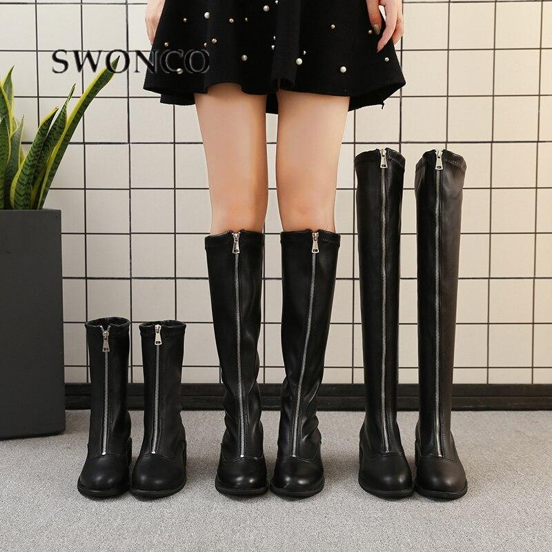 SWONCO Punk Shoes Women Fashin Front Zipper British Martin Boots Chaussure Femme Tall Boots Women 2019  New Female Riding Boots