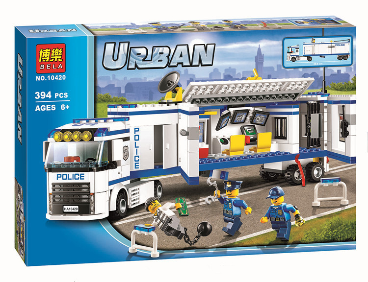 394pcs City Police Mobile Station Truck Building Blocks Educational Bricks Compatible Legoingly 60044 Toys For Children Gifts image
