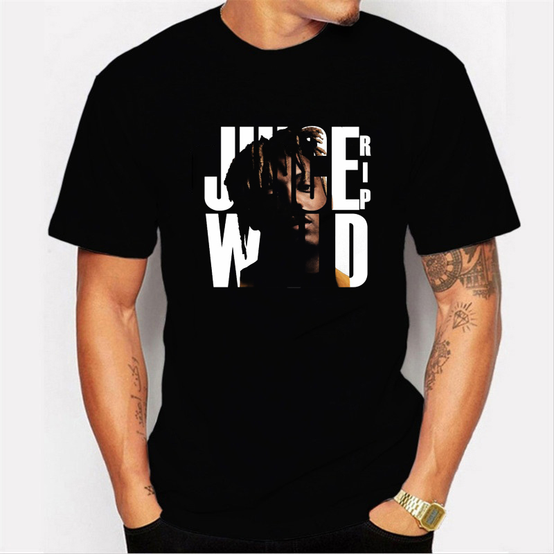 Harajuku Vintage Tshirt Hip Hop Juice Wrld  Men's T-shirt Workout Shirts Trendy Loose Oversized Men T Shirt Black Tees Hombre