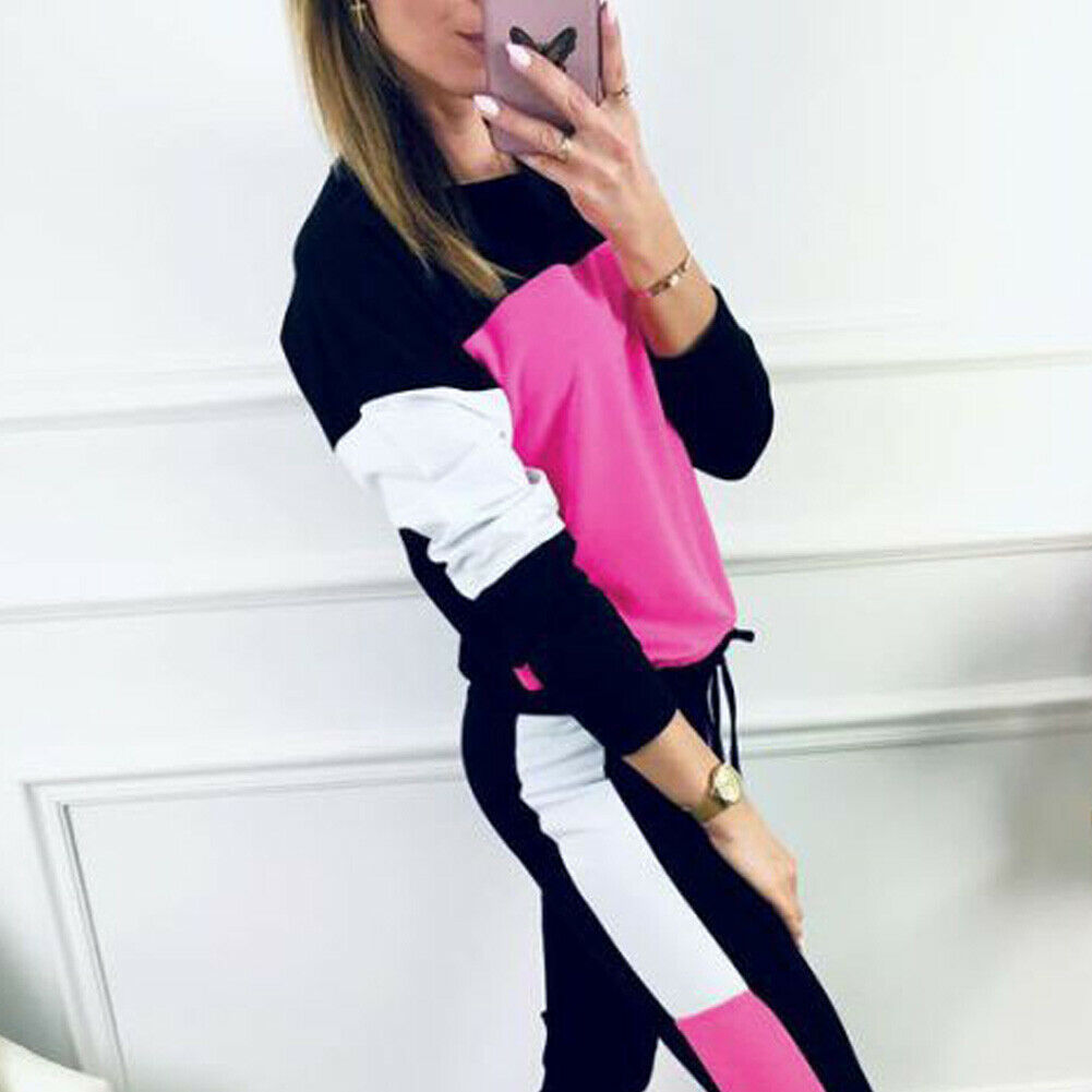 2019 Autumn Casual Women's Sport Hoodies Sweatshirt Tops + Long Pants Set 2Pcs Tracksuit Fitness Sweat Suit Sportwear