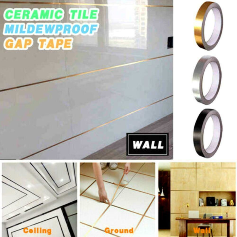 5M/Roll Ceramic Tile Mildewproof Gap Tape Decor Gold Silver Black Self Adhesive Wall Tile Floor Tape Sticker Home Decoration