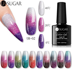 UR SUGAR 7.5ml Glitter Thermal Nail Gel Polish Shiny Sequins Temperature 3Colors Changing Varnishes Soak Off UV Nail Gel