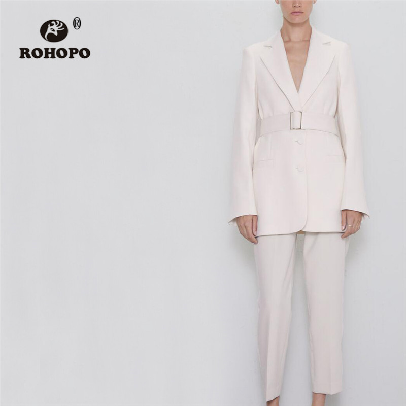 ROHOPO Notched Collat Belted White Outwear Office Ladies Solid Straight Side Pockets Chic Blazer #9599