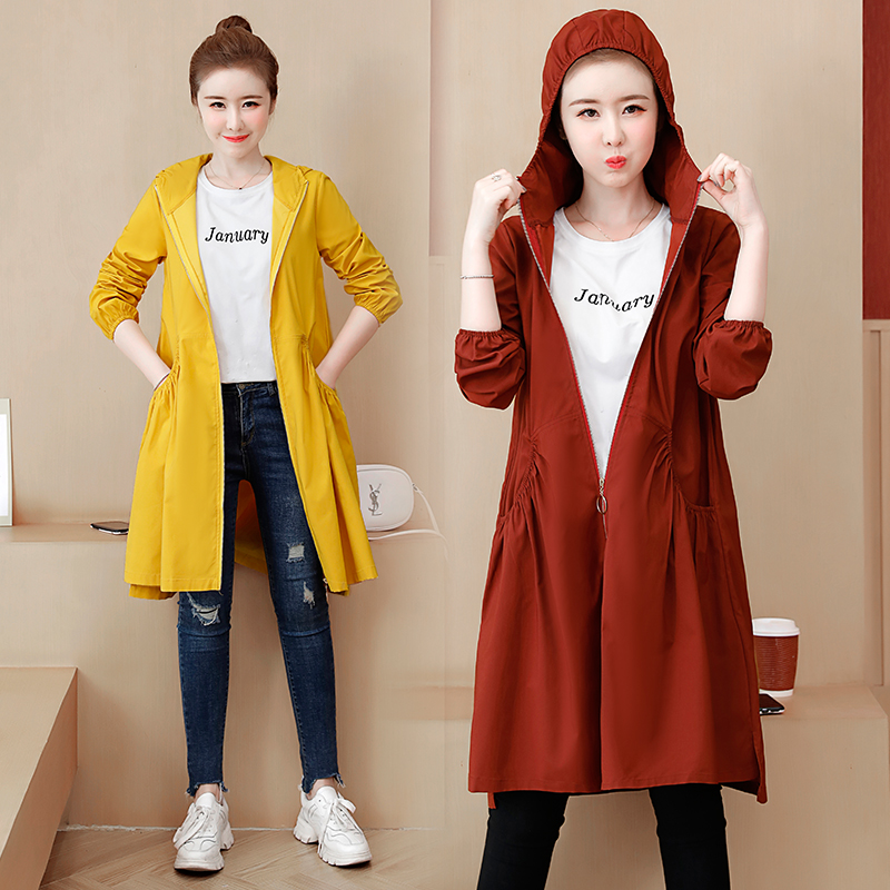 Long Coat Jacket Windbreaker Hooded Loose Autumn Korean Plus-Size Casual Women New Fall
