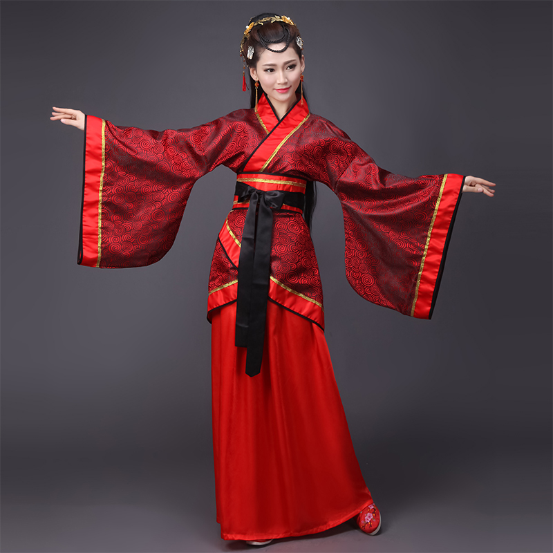 Ancient Women Clothing Chinese Traditional Red Hanfu Tang/Han Dynasty Wedding Robe Cosplay Stage Performance Costume DQL1848
