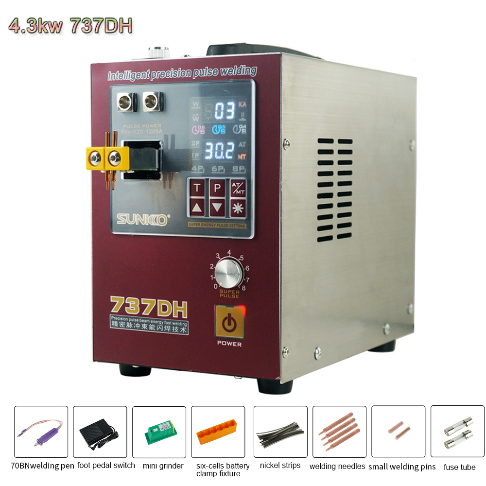 4 Welder 737DH Machine SUNKK Welding Spot Small Stri 3KW Induction Touch Lithium Welding Nickel Battery Machine 18650 Delay Spot
