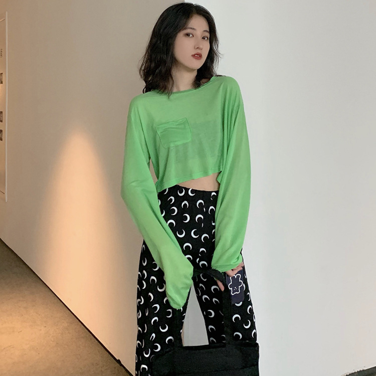 2019 Summer New Style Long Sleeve Green Sun-resistant Tops Moon High-waisted Chiffon Loose Pants WOMEN'S Suit Casual By Age