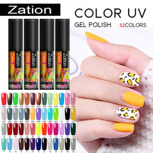 Zation Color puro Gel UV nuevo 2019 arte de uñas manicura 52 colores UV LED remojo de pintura DIY UV Gel pulido de uñas laca(China)