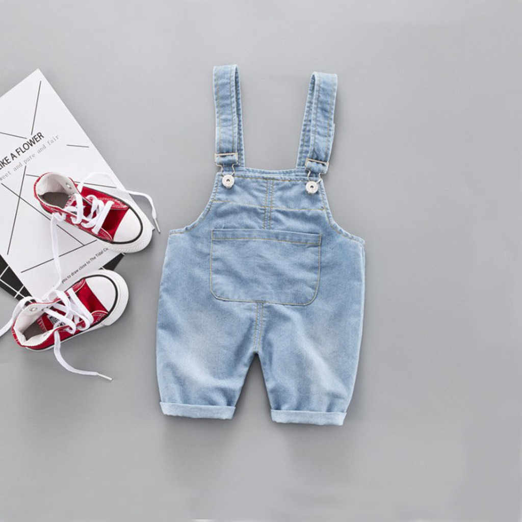 6M-3Y Baby Overalls Pants Fashion Toddler Kids Boys Girls Solid Pants Baby Light Blue Denim Suspender Trousers Jean Clothes