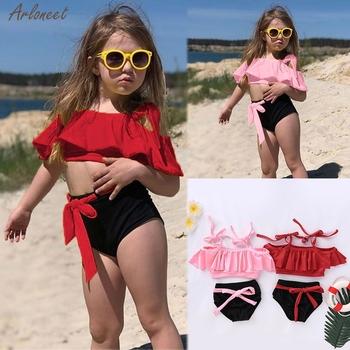 Stroje kąpielowe letnie dzieci dziewczynek Ruffles dwuczęściowy stałe stroje kąpielowe strój kąpielowy Bikini stroje kąpielowe ubrania nowa moda 2020 tanie i dobre opinie ARLONEET Poliester Dziecko dziewczyny Dwa Kawałki Pasuje prawda na wymiar weź swój normalny rozmiar baby swimsuit baby swimsuit girl