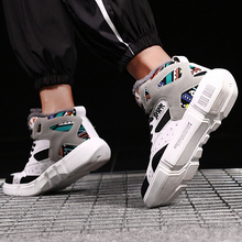 TUINANLE High Top Sneakers Warm Winter Plush Women Shoes Graffiti Platform Sneakers White Lover Shoes Size 11 Zapatos De Mujer
