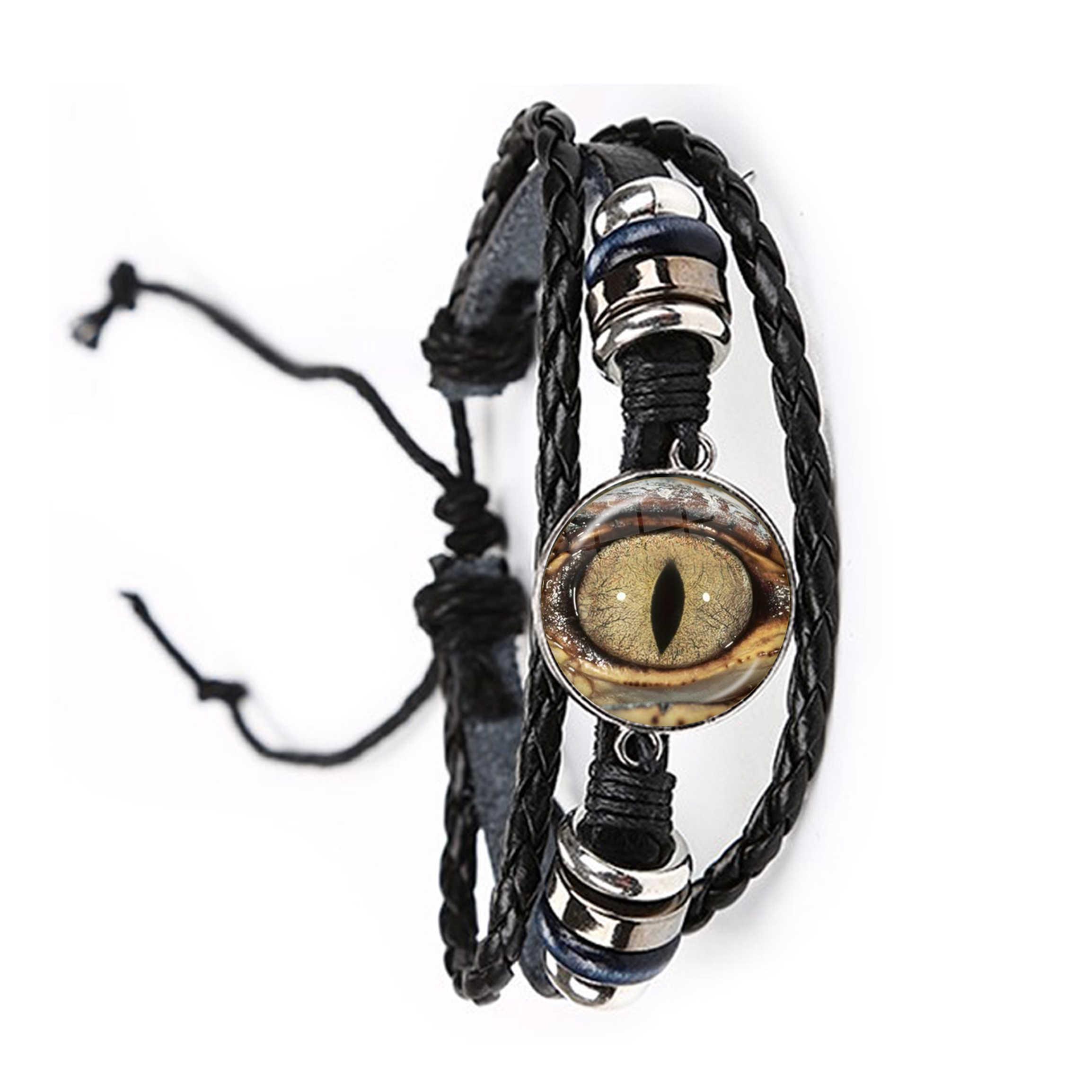 Animal Eyes Dragon Snake Owl Cat Tiger Eyes 20mm Glass Cabochon Bracelet Handmade Jewelry Leather Bangle For Women Men Gift