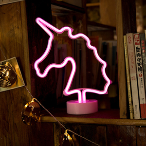 Image 4 - Decorazioni al Neon sveglie del segno al Neon dellarcobaleno della luce notturna del LED per la casa, lampade al Neon per la lampada del Cactus di natale del regalo delle ragazze Dropshipping