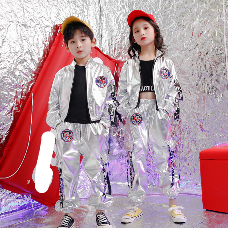Kid Hip Hop Clothing Casual Sliver Coat Tops + Cartoon Jogger Pants For Girls Boy Jazz Dance Costume Ballroom Dancing Outfits