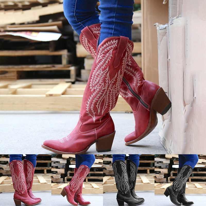 MoneRffi kadın botları klasik işlemeli batı kovboy çizmeler sivri burun deri Cowgirl çizmeler düşük topuklu ayakkabı diz yüksek çizmeler
