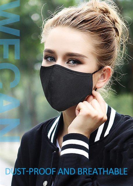 Reusable Anti Pollution Sponge Face Mask Black Breathable Mouth Mask Washable Muffle Face Mouth Mask Flu Dust Respirator Masks 3