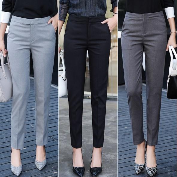 Autumn Spring Office Ladies Business Casual Formal Dress Pants Women Black Grey Skinny Suit Pants Womens Slim Work Trousers
