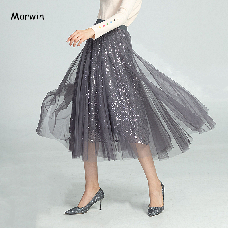 Marwin New-Coming Autumn Winter High Street Europen Style Women Skirts High Elastic Quality Sequin Christmas Women Skirts