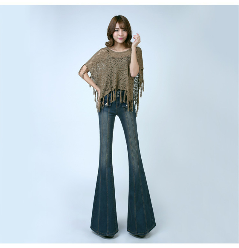 Autumn new arrival 2015 vintage big horn jeans light blue slim horn jeans boot cut butt-lifting big