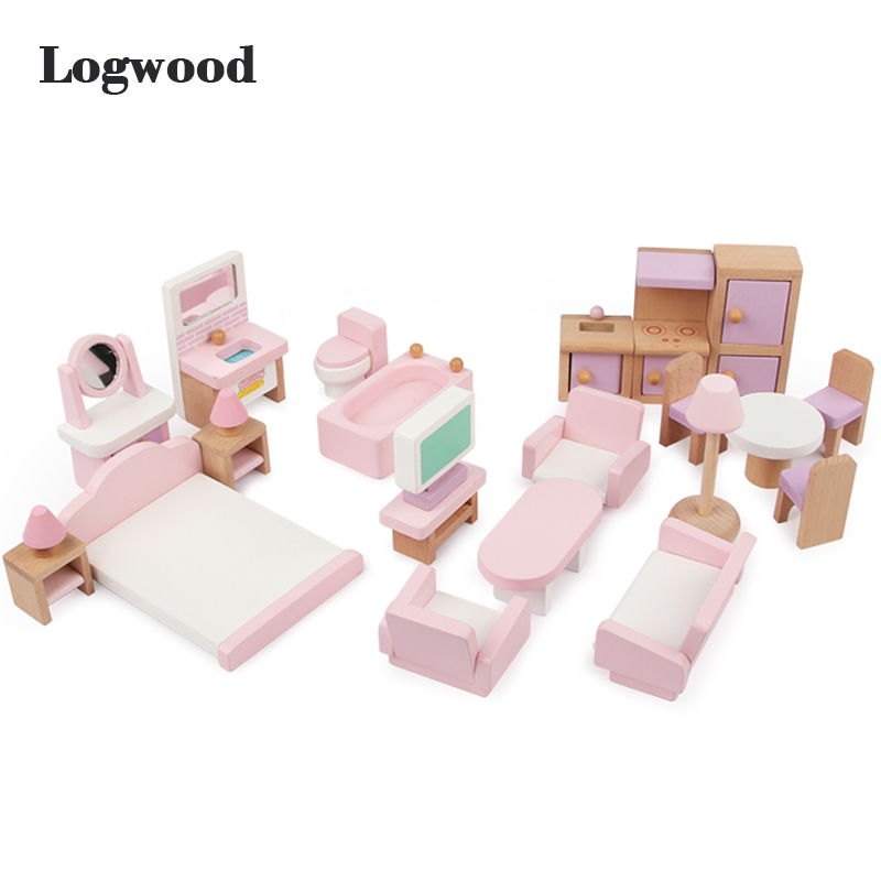 Baby Toys 22Pcs Pink Strawberry Simulation Small Furniture Toys  Doll House For Kids Pretend Play Children Educational Gift