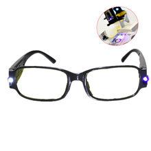 Gafas de lectura con luz LED, lentes de lectura transparentes + 1,00 + 1,50 + 2,00 + 2,50 + 3,00 + 3,50 + 4,00, dioptrías para presbicia nocturna