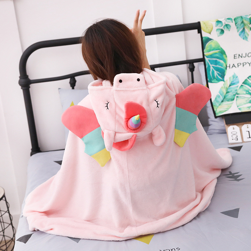 Unicorn Fleece Blanket Hooded Blanket Bed Sofa TV Throw Blankets Cartoon Hoodie Blanket Sweatshirt Christmas Gift for Children 1