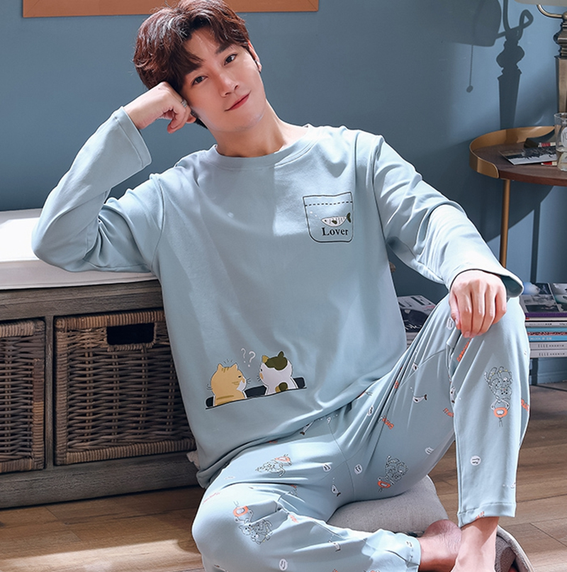 Men's Pajamas Spring And Autumn Cotton Long-sleeved Young Men's Cute Cartoon Home Service Autumn And Winter Suits