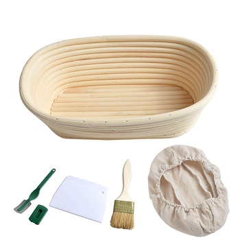 25cm 10 inch Oval Bread Proofing Basket Sourdough Proving Linen Liner + Bread Cutter +Bread Lame + Bread Brush for Professional