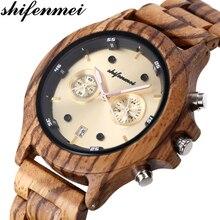 Shifenmei Wooden Watches Men Chronograph Watch Fashion Sports Top Brand Luxury Military Quartz Relogio Masculino 5583