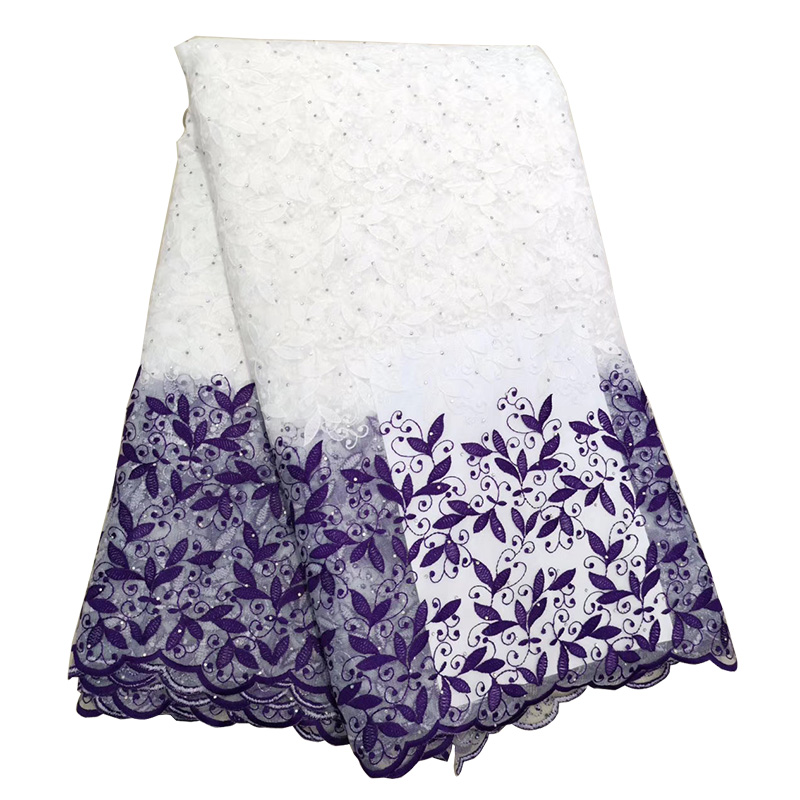 Latest Purple African Net Lace Fabric For Wedding Dress Embroidered Nigerian Lace Swiss Voile Lace In Switzerland With Beads