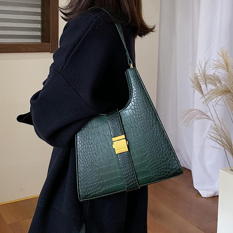 Crocodile Pattern PU Leather Shoulder Bags For Women 2020 Retro Quality Handbags Lady Designer Totes Female Hand Bag